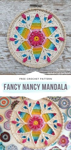 How to Crochet Fancy Nancy Mandala - - Crochet Charming Spring Mandalas to bring some fresh spirit into your house at the beginning of this wonderful new season. The free patterns we are. Crochet Pattern Free, Crochet Mandala Pattern, Easy Crochet Patterns, Knitting Patterns, Crochet Dreamcatcher Pattern Free, Crochet Ideas, Crochet Feather, Crochet Fall, Crochet Home