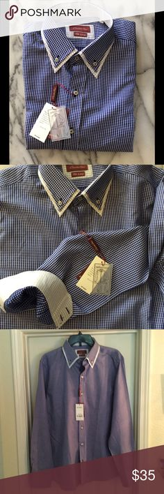 Ewido Tucci Long Sleeve Shirt Exceptional European designed shirt made in Spain and featuring double collar, tapered styling and contrasting cuffs. 100% cotton. Ewido Tucci Shirts Casual Button Down Shirts