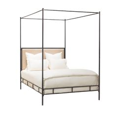 """Marco Bed Cal King Hand Hammered Iron w/Canopy, Tapering Posts & Upholstered Headboard  76""""W x 87.5""""D x 91.5""""H"""