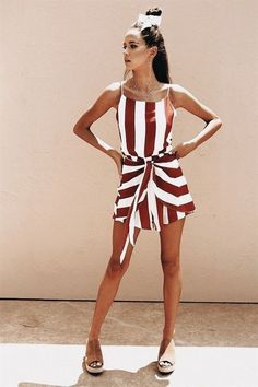 Love this red and white striped romper.