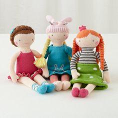 Orange Hair Knit Crowd Doll