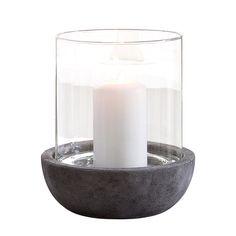 Windlicht Oslo - Zement, Glas bei home24 39€