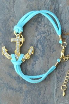 Suede Crystal Anchor Bracelet - $22