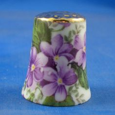 Gold Top Thimble Violets Floral Chintz | eBay