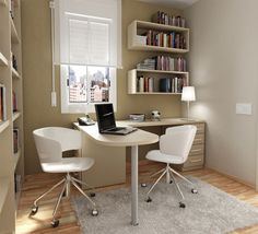 Study Room - looks like IKEA - multiple work surfaces - two chairs - great use of small space - built in shelving