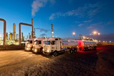Reef Tankers trucks at the Natref Refinery in Sasolburg a large industrial town in the far north of the Free State province of South Africa