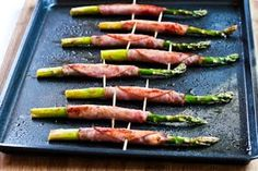 Recipe for Roasted Asparagus Wrapped in Ham [from KalynsKitchen.com]