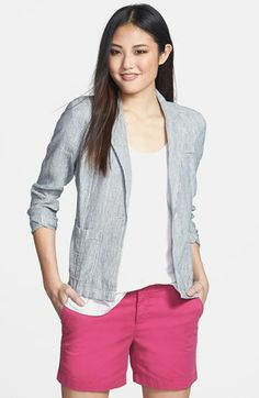 For the weekend outing or casual summer brunch.  Hot pink shorts add pop of color to this outfit.  3/4 sleeve jacket is versatile and looks great over a t-shirt or cami.  Wear with gladiator sandals or neutral wedges.  Caslon® Linen One-Button Jacket (Regular & Petite) available at #Nordstrom #womenswear #spring2014