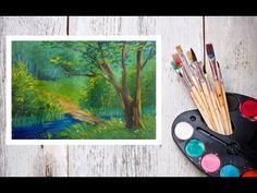 Видео урок Рисуем Гуашью Летний пейзаж №3 #Dari Art - YouTube