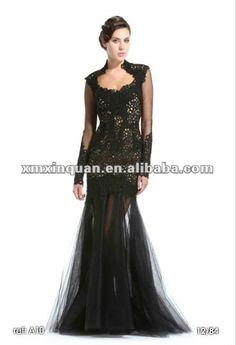 ZMS002 Custom made black lace applique tull long sleeve evening dress fashion 2012