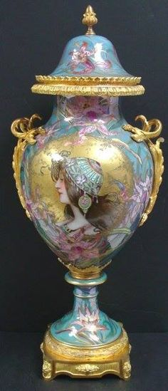 19th c. Sevres art nouveau covered urn