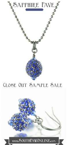 On Close Out - Sapphire pave crystal necklace and earrings set on blackened sterling silver https://www.etsy.com/listing/192451828/on-sale-sapphire-pave-crystal-necklace #samplesale