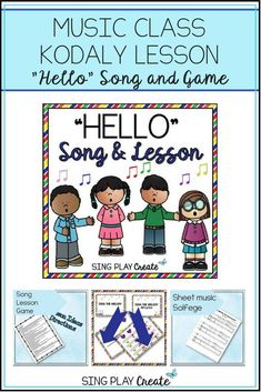 "Sing this fun back to school ""Hello"" song to build classroom community and develop solfege skills. Best for younger children. #musicclass #musiceducation #musiclesson #singplaycreate"