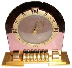 1930's Art Deco pink mirrored clock by R&M