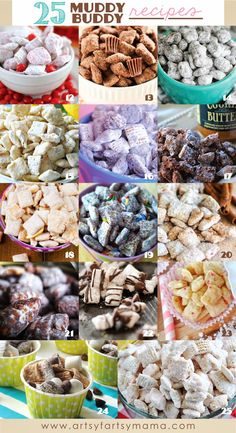 25 Muddy Buddy Recipes Find creative craft tutorials, simple recipes, printables and more at Artsy-Fartsy Mama Puppy Chow Snack, Puppy Chow Recipes, Snack Mix Recipes, Candy Recipes, Yummy Snacks, Sweet Recipes, Delicious Desserts, Simple Recipes, Snack Mixes