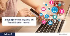 """""""Z kuşağı"""" 1997 ve sonrası doğan nesildir.  Z kuşağı, #online alışverişi en fazla kullanan ve alışverişlerinin %55'inden fazlasını internetten yapan nesildir.  www.ticimax.com  #eticaret #eticaretbilgi #ticimax #eticaretsitesi #eticaretpaketi #ecommerce #onlinealışveriş #sanalmağaza"""