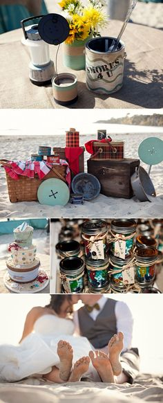 OK, this is my favorite wedding cake of all time! A Vintage Beach Camping Wedding Theme from Love and Lavender