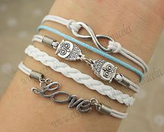 Infinity bracelet,owls bracelet ,love bracelet,infinity love,cute owls,braid leather,antique silver,friendship christmas gift,