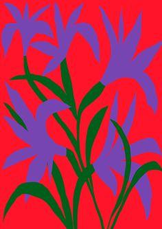 Antti Kalevi, Purple Flower on Red Background, 2015 Illustration Blume, Graphic Illustration, Ligne Claire, Morris, Motif Floral, Red Background, Purple Flowers, Art Inspo, Collage Art