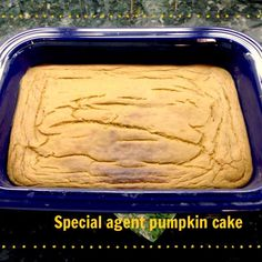 Special agent PUMPKIN cake-S! Special Agent Brownie Cake (pg. 382) without cocoa. I used chana dal beans (1 1/4 cup) and 3/4 cup of pumpkin and added 1 tbsp. of pumpkin pie spice. Frost with a cream cheese icing.