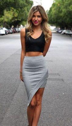 #street #style asymmetrical skirt + crop top Wachabuy