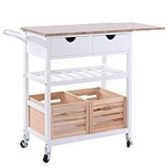 First Home Kitchen Renovation - white kitchen / bar cart with wood top and wooden crates for storage.  It's on wheels, too, for maximum portability.