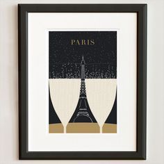 SHARE A DRINK | EIFFEL TOWER, original illustration by Evan Robertson.   A pair of champagne glasses on a cafe table, the bubbles intermingling with the evening stars, creating a phantom Eiffel Tower in the negative space between the two glasses.