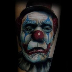 From scary to sad and happy to evil, discover red-nosed face ink with the top 75 best clown tattoos for men. Good Clowns, Evil Clowns, Clown Makeup, Halloween Face Makeup, Evil Clown Tattoos, Small Tattoos, Tattoos For Guys, Clown Images, Clover Tattoos