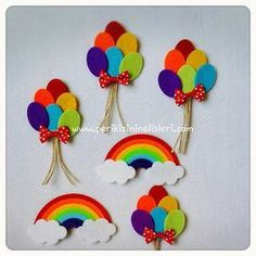 peri kızının el işleri: Gökkuşağı magnet ve balon magnet: Felt Diy, Felt Crafts, Diy And Crafts, Crafts For Kids, Arts And Crafts, Paper Crafts, Felt Flowers, Paper Flowers, Diy Y Manualidades