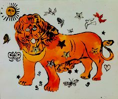 Lion With Stars, Hearts, Butterflies, Fruits, and Birds, Andy Warhol, Circa 1955 #andywarhol