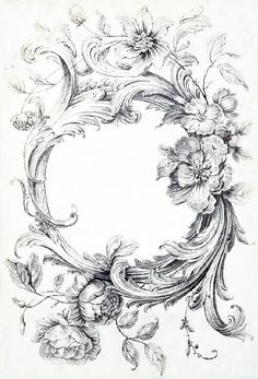 Acanthus and floral border Decoupage, Etiquette Vintage, Images Vintage, All Craft, Vintage Labels, Vintage Prints, Vintage Floral, Adult Coloring Pages, Stencils