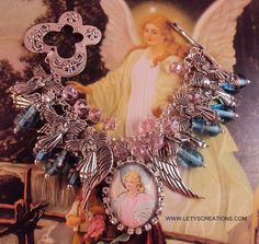 """My Guardian Angel"" Handcrafted Angels Religious Medal Charm Bracelet www.letyscreations.com"