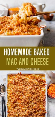 Baked Mac and Cheese {Easy & Cheesy} - Two Peas & Their Pod Best Homemade Mac And Cheese Recipe, Baked Mac And Cheese Recipe, Boxed Mac And Cheese, Cheese Recipes, Baked Cheese, Wheat Pasta Recipes, Easy Pasta Recipes, Easy Dinner Recipes, Cooking Recipes