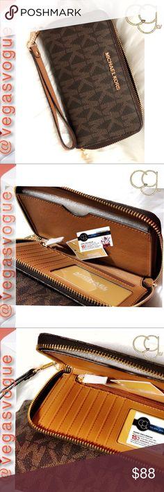17dad4b73487 Michael Kors Sig Jet Set Travel Zip-Around Wallet Michael Kors (MK)  Signature