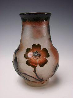 Art Nouveau Daum Nancy Martelle Cameo Engraved Glass Vase Signed from hideandgokeep on Ruby Lane