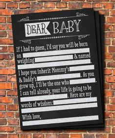 Baby Shower MadLibs Printable Game Chalkboard by CaraCoPrintables, dear baby fill in, chalk theme black and white