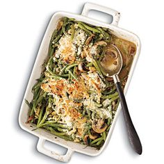 Green Bean Casserole with Madeira Mushrooms. Such a great way to keep thanksgiving light!!