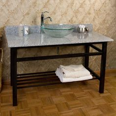 "48"" Console Sink for Vessel Sink - No Faucet Hole - 3/4"" White Crystallized Glass Top"