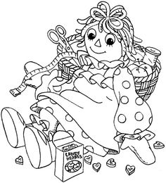raggedy ann coloring pages andy raggedy ann and sewing kit in raggedy