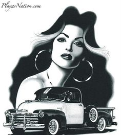 Chicano art always draws me in, nice truck! Chicano Tattoos, Chicano Art, Looking For A Girlfriend, The Shirelles, Aztecas Art, Cholo Style, Latino Art, Lowrider Art, Neue Tattoos