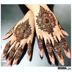 Henna by Jas. Design inspired by a picture selected by S. Henna by Jas. Design inspired by a picture selected by Satveer details unknown. Offering FREE c. Mehandi Designs, Wedding Henna Designs, Indian Henna Designs, Modern Mehndi Designs, Mehndi Design Photos, Mehndi Designs For Fingers, Dulhan Mehndi Designs, Beautiful Mehndi Design, Henna Tattoo Designs