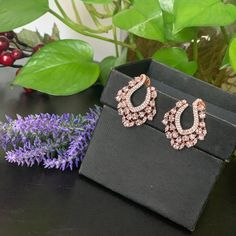 Designer AD rose gold two tome finished stud Earrings / CZ Statement earrings / Earrings/ Bollywood celebrity earring/ stud earrings Peacock Earrings, Jhumki Earrings, Bridal Earrings, Stud Earrings, Tribal Jewelry, Indian Jewelry, Antique Gold, Antique Jewelry, Imitation Jewelry