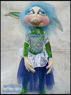 Misty  Standing 13  Pixie Cloth  Art Doll by CreativeDollsandsuch
