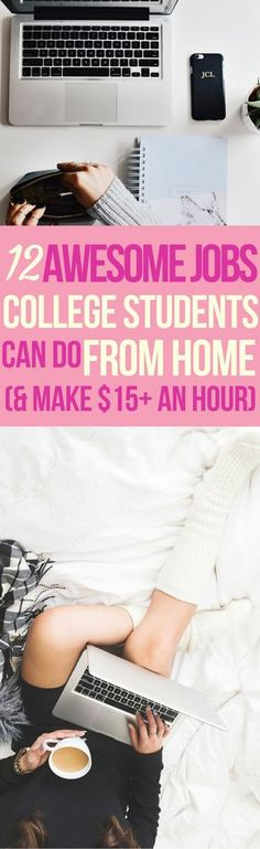 These 12 Jobs college students can do online are THE BEST! I'm so happy I found these AWESOME tips! Now I have some great ways to work from home and make money online. Definitely pinning! #workfromhome #makemoneyonline #blogging #onlinejobs