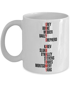 Grey's Anatomy Characters - Trinkets & Novelty - Grey's Anatomy Merchandise. This 11-oz Series Inspired Grey Yang Karev O'Malley Stevens Intern Surgeon Coffee Cocoa Mug Cup is Perfect Gift for Fan