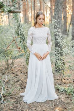 A-line wedding dress with modest lace bodice | Cathy Telle