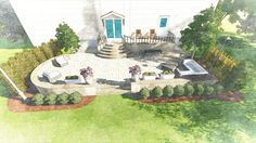 Custom landscape render of a small backyard with new patio and shrubs