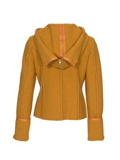Women's jacket sewing pattern available for download. Available in various sizes.  This jacket is something that suits all occasions: A fitted casual jacket with hood that opens up and turns into an XXL collar. The jacket goes with pretty much everything and looks super great in this trendy, mustard yellow fabric. The flowery print leggings are certainly a great match!