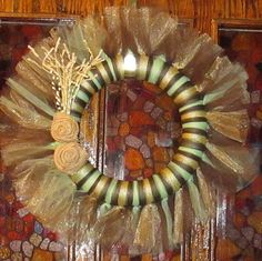 Earthy Tulle Wreath With Burlap Rosettes In Green, Brown, Tan - Fall - Natural on Etsy, $15.00