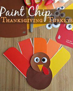 Easy Thanksgiving Kids Craft | Paint Chip Turkey